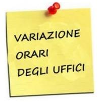 Ufficio URP e PROTOCOLLO: variazione orario di apertura al pubblico