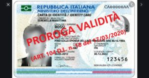 Emergenza Covid-19 –  Carte d'identità: prorogata la validità al 31/12/2020