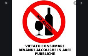 Alcolici: vietato il consumo nelle aree pubbliche